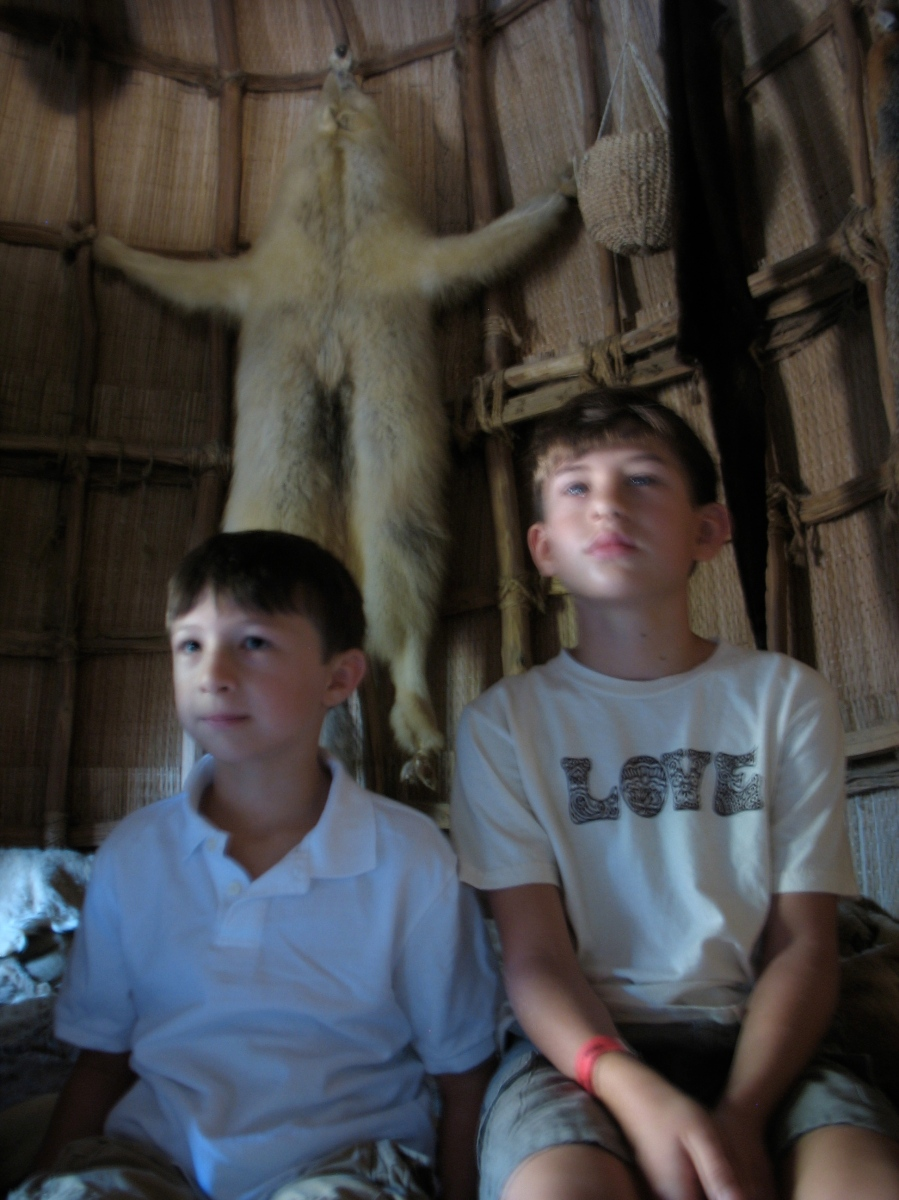 Our two oldest sons soak up everything Powhatan while at Jamestown.