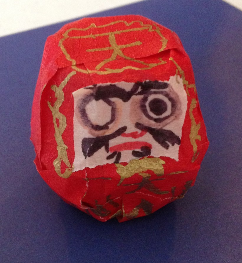 Daruma doll created by our oldest son at Culture Club - Japan!