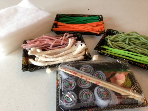 Creative sushi sets the kids made.