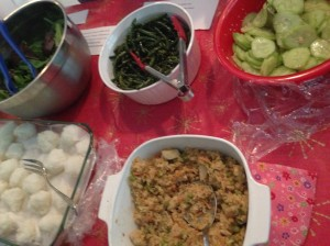 Our rice balls alongside Japanese dishes brought by other families to our Culture Club potluck lunch.