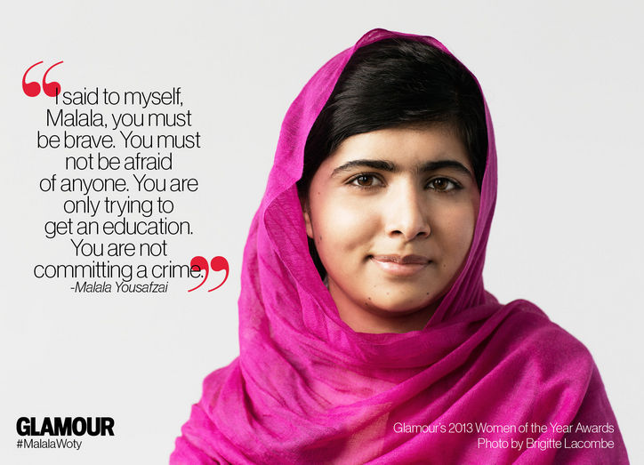 Malala Yousafzai, in pink, received a Glamour 2013 Women of the Year Award.